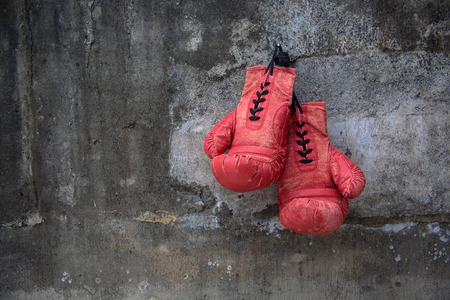boxing glove: red vintage boxing glove
