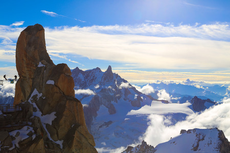 mountaintop: Mount Aiguille Du Midi, French Alps, France. Stock Photo
