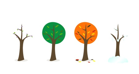 kitsch style drawing trees