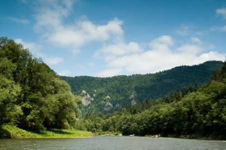 Dunajec River with view of beautiful Polish mountains  photo