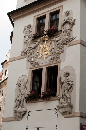 czech culture: An example of the beautiful architecture of Prague, Czech. Stock Photo