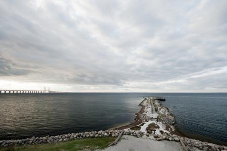 scandinavian peninsula: View of the bridge linking Sweden (Malmo) with Denmark (Kopenhavn). Stock Photo