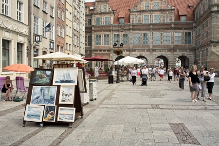 Gdansk, Poland - 06 June, 2012 -Old Town Long street, crowds of tourists visit the lovely places in Gdansk, Poland.