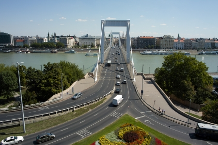 elisabeth: Budapest, Hungary - 09 August, 2012 - Nice view from Gellert Hill on the Elisabeth bridge. Editorial