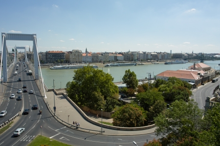 elisabeth: Budapest, Hungary - 09 August, 2012 - Nice view from Gellert Hill on the Elisabeth bridge. Editorial
