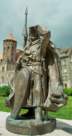 szeroka: Gdansk, Poland - July 12, 2012 - Monument of Swietopelk II the Great in Szeroka Street in Gdansk. Duke of Pomerelia-Gda?sk from 1215-1266. Editorial