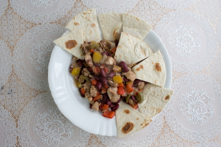 polish chicken: Mexican chicken. Example tasty Mexican cuisine in Poland. Stock Photo