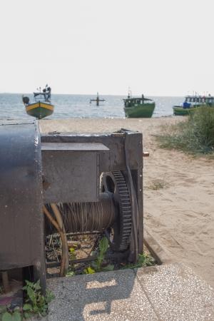 Fishing boats on the beach in Gdynia Orlowo  Poland  photo