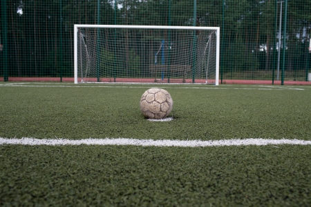 The performance penalty. A football field in the Polish countryside. photo
