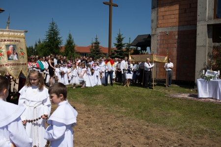 GDANSK KOWALE, POLAND - MAY 30 Religious procession at Corpus Christi Day in one of the suburban districts of Gdansk  May 30, 2013  Gdansk Kowale, Poland