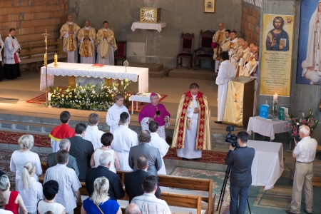 archbishop: GDANSK KOWALE, POLAND - JUNE 09 Dedication of the Church Parish of Saint Kinga in Kowale by Archbishop of the Archdiocese of Gdansk Leszek Slawoj Glodz  June 09, 2013  Gdansk Kowale, Poland