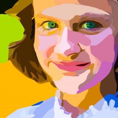 cilia: Portrait of young girl  Vector illustration  Illustration