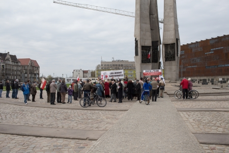 rightwing: GDANSK. POLAND - MAY 03: The marginal extreme right-wing Polish organization Sovereignty Defense League (LOS) with the Gazeta Polska, organized a demonstration at the monument to the fallen shipyard workers.