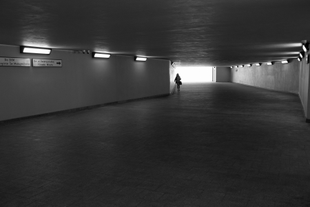 Gdynia, Poland 17 May, 2013 - Underpass in Gdynia. The people follower in different directions.