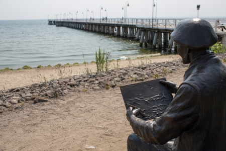 eminent: Sculpture shows Anthony Suchanek 1901-1982, an eminent painter of maritime historian who lived and worked in Gdynia Orlowo.