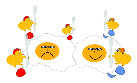 Family dinner  Chicken and fried egg  Vector illustration  Vector