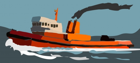 seafaring: Tugboat on the sea illustration. Illustration