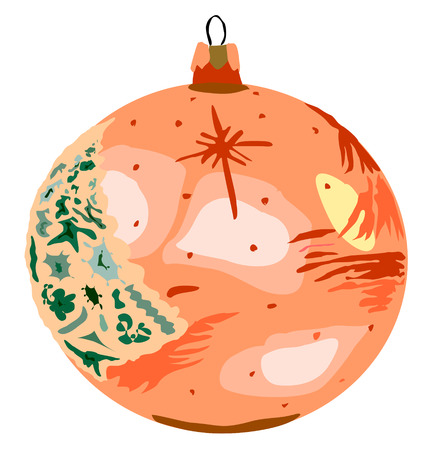 Xmas bauble orange decor, vector illustration  Vector