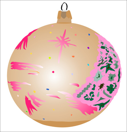 Xmas bauble brown decor, vector illustration. Vector