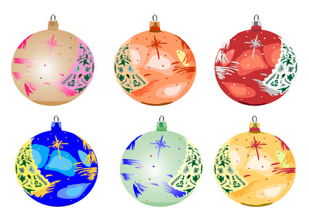 Six baubles xmas decor, vector illustration. Vector