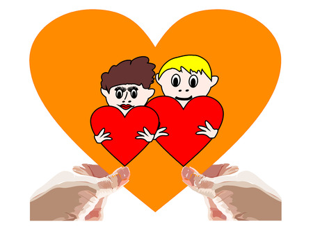 Hand holding heart Valentines gift. Symbol of love we hold in our hands. Vector