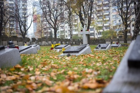 GDANSK. POLAND - NOVEMBER 07: The Octave of All Saints. Cemetery Monument of Zaspa Heros. Victims of Nazism and World War II. In the cemetery buried the remains of murdered Stutthoff, defenders of the Polish Post, the border crossing at Szymankowo or West