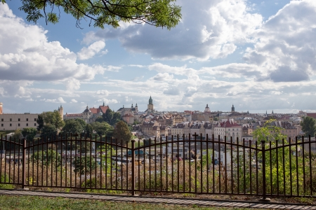 LUBLIN  POLAND - AUGUST 27  Panorama of beautiful polish city Lublin   August 27, 2013  Lublin, Poland