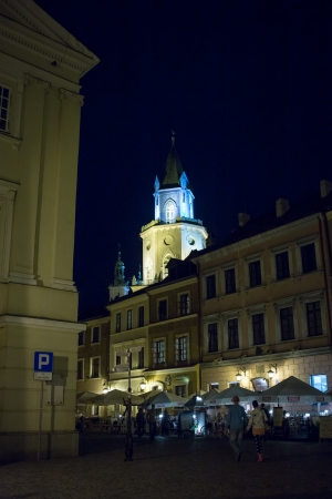LUBLIN  POLAND - AUGUST 28 Tourists sightseeing Lublin old town at night  August 28, 2013  Lublin, Poland