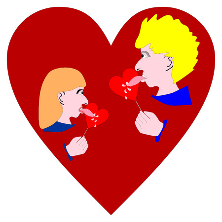 heartily: Love licked lollipop hearts. Couple lovers on Valentine time. Illustration