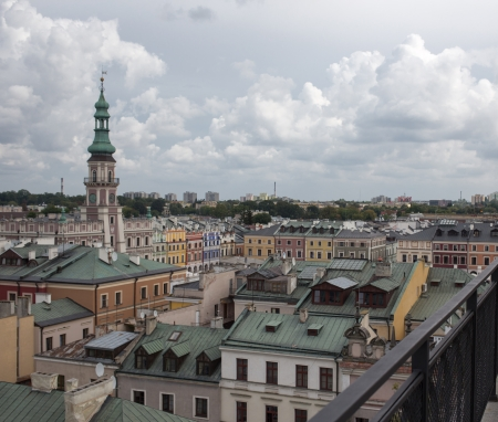 ZAMOSC  POLAND - AUGUST 29 Panorama of the City of Zamosc, view of the old city  August 29, 2013  Zamosc, Poland  Stock Photo - 24957924