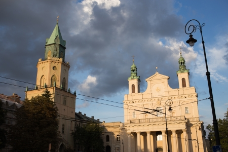 The Cathedral under the invocation of Saints Johns, the Baptist and the Evangelist. On the left Trynitarna tower. Lublin, Poland. photo