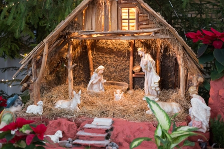 Christmas crib with child Jesus, father Josef and virgin Mary in stable at Gdansk.