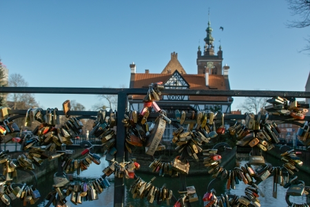 amorousness: GDANSK, POLAND - JANUARY 4: Marriage symbol on the bridge in Gdansk, Poland. January 4, 2014. Gdansk, Poland.
