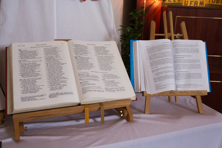 catechism: GDANSK, POLAND - JUNE 30, 2013: Catholic holy book, catechism, bible, vatican council.