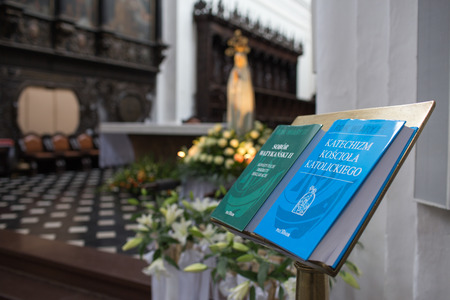 catechism: GDANSK, POLAND - JULY 13, 2013: Catholic holy book, catechism, bible, vatican council.