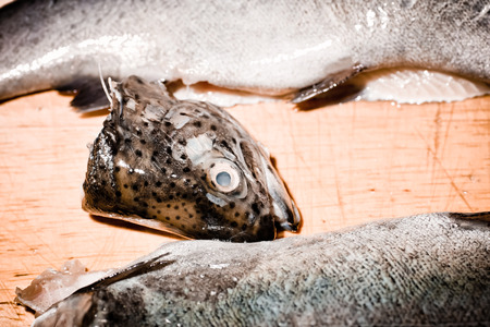 In Polish cuisine, on the Polish table. Trout from family fish Salmonidae. Tasty fishes freshwater fish from South Poland.