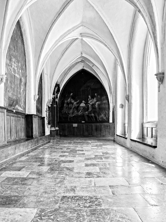 Interior catholic monastery  Details and architecture in interior church