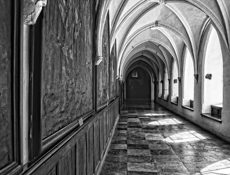 catechism: Interior catholic monastery. Details and architecture.