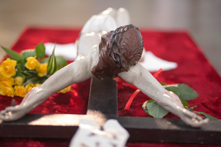 Sculpture of Jesus Christ on the cross in easter time. photo
