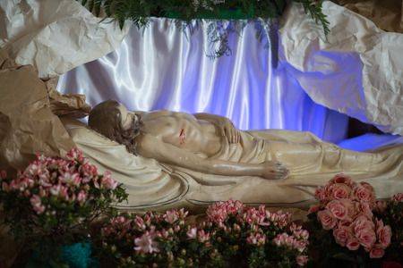 GDANSK BRZEZNO, POLAND - APRIL 19, 2014  Sculpture of Jesus Christ is laid in the tomb  The staging of the tomb of the Lord during the Easter season  Catholic church under the invocation of Saint Anthony in Gdansk Brzezno