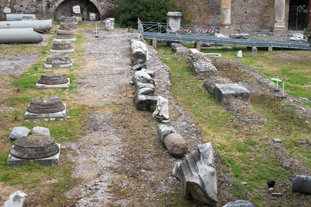 residue: The ruins, columns, stones and residue after ancient in Rome. Italy.