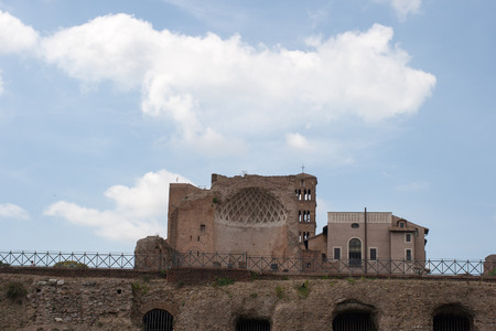 residue: ROME, ITALY - APRIL 26, 2014: The ruins, columns, stones, residue after ancient Rome. Italy.