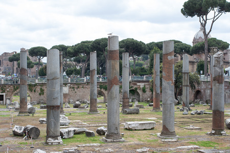 residue: ROME, ITALY - APRIL 27, 2014: The ruins, columns, stones, residue after ancient Rome. Italy.
