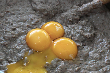 polish chicken: In Polish cuisine, on the Polish table. Preparation of Liver pate. On the picture adding from chicken egg yolks.