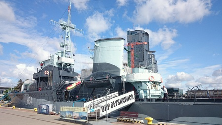 destroyer: Historic destroyer Lighting in Gdynia port,  Poland. Stock Photo
