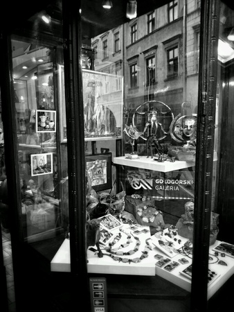 architecture: Cracow, architecture, reflections in shop windows. Krakow, Poland.
