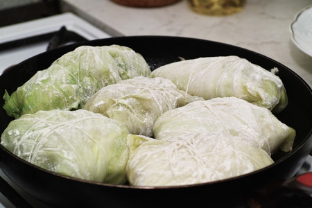 flavorful: Cabbage rolls. In the Polish kitchen, on the Polish table. Preparing stuffed cabbage, Polish cuisine specialty.