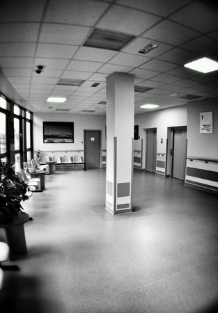 interior: Hospital symmetry, hall interior. Oncology floor.