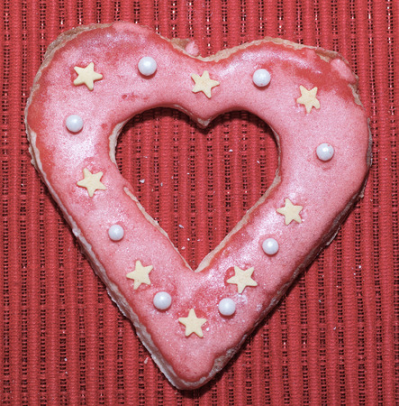Gingerbread cookies hearts love for Valentine day. Stock Photo