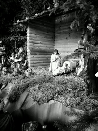 guardería: Guardería de Navidad en la iglesia católica. Foto de archivo